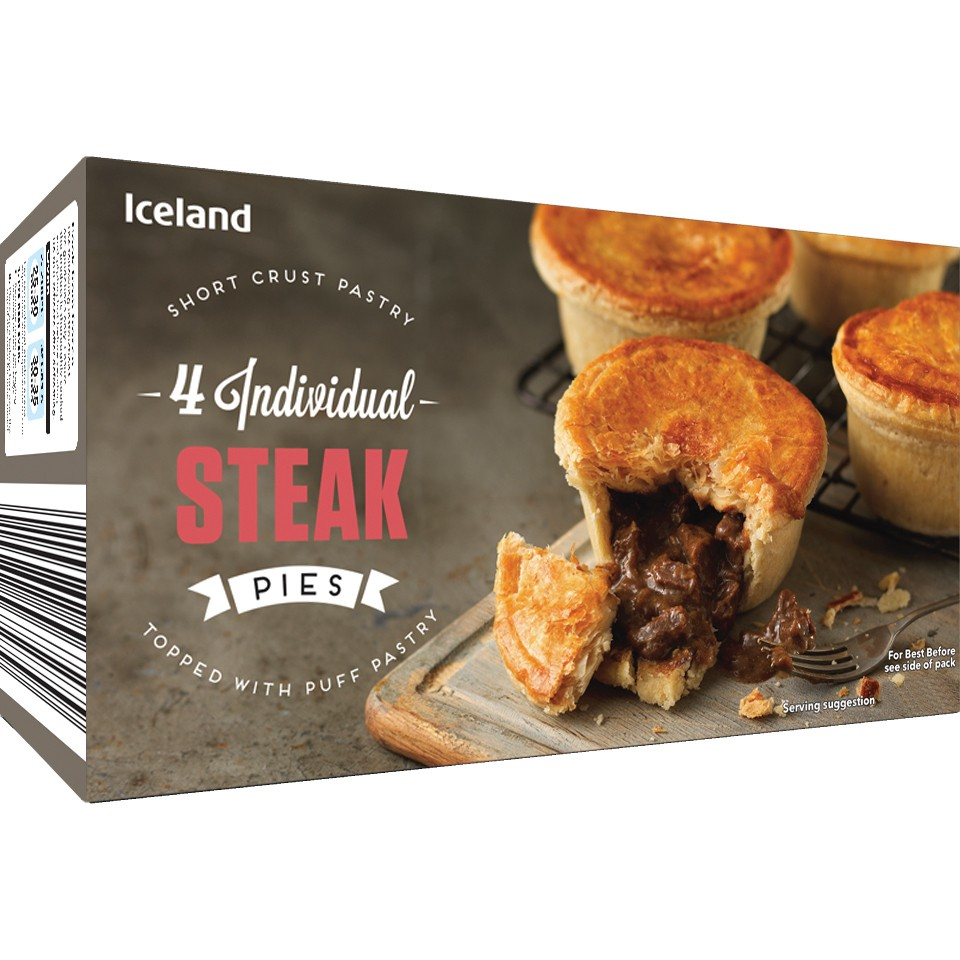 Iceland 4 Individual Steak Pies 568g
