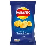 Walkers Cheese & Onion Flavour Crisps 6 x 25g